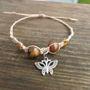 Adjustable Tiger Eye Beaded Hemp Bracelet